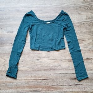 Garage Tops - ❄ WINTER SALE: Teal Cropped Longsleeve